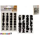 lettere adesive e numeri neri 2 volte assortito