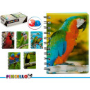 notepad a6 lid 3d parrots 6 times assorted 196 pag