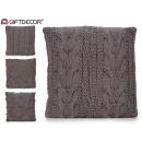 wholesale Cushions & Blankets: dark gray wool cushion 45x45cm 4 times assorted