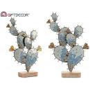 wholesale Figures & Sculptures: cactus metal figure double blue glass