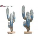 metalen figuur cactus langwerpig blauw glas