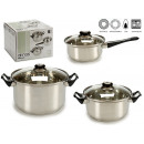 ingrosso Casalinghi & Cucina: batteria in acciaio inox 6 pezzi manico nero
