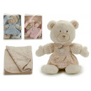 teddy bear with blancket , colors 3 times assorted