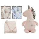 unicornio peluche con manta, colores 3 veces surti