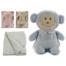 Plush monkey with blancket , colors 3 times assort