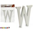 lettera w legno bianco 1,8x15cm
