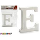 lettera e legno bianco 2x11cm
