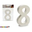 numero 8 legno bianco 2x11cm
