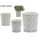 wholesale Garden & DIY store: ceramic pot gray assortment 4 designs