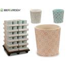 Großhandel Garten & Baumarkt: Keramiktopf farben 3 fach sortiert