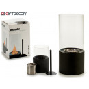 burner metal black cylinder small glass