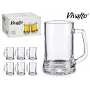 set of 6 glass beer mugs 380ml