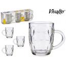 set of 3 glass beer mugs 280ml