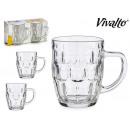 set of 2 glass beer mugs 520ml