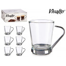 set of 6 cups coffee glass 8.5cl metal handle