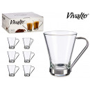 set of 6 cup cut glass 19cl asametal