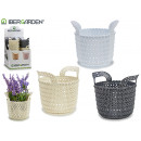 wholesale Garden & DIY store: plastic pot with handles, colors 3 times assorted