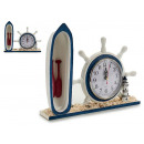 wood timon with boat clock
