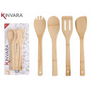 set of 4 kitchen utensils bamboo 30cm