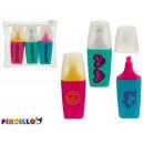Set of 3 fluorescent pens 3 colore case