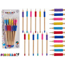 set of 12 pencils wood rubber assorted colors
