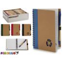 Notizbuchkarton recyl und Stift 16x12cm 4mal surti