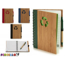 Notizblock Bambus recicl und Stift 18x14cm 4-fach