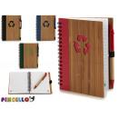 Notizblock Bambus recicl und Stift 16x12cm 4-fach