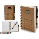 calculator notebook with pen