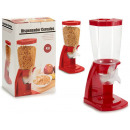 red plastic cereal dispenser