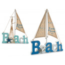 houten bord strand zeilboot, 2 maal geassorteerd