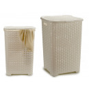 wholesale Laundry: basket for plastic casting rattan white 60l