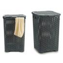 Großhandel Wäsche: Korb zum Gießen Kunststoff Rattan grau 45l