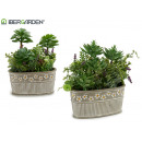 wholesale Artificial Flowers: flowerpot oval stone plants assorted 2