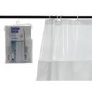 rideau de salle de bain 180x180cm blanc et transpa