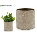 large whitewashed stone striped flowerpot