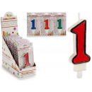 birthday candle 1 colors 4 times assorted