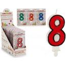 Geburtstagskerze 8 Farben 4 fach sortiert
