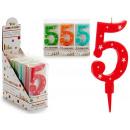 Geburtstagskerze große Zahlen 5 Farben 4 mal s