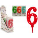 Geburtstagskerze große Zahlen 6 Farben 4 mal s