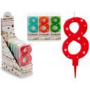 Geburtstagskerze große Zahlen 8 Farben 4 mal s