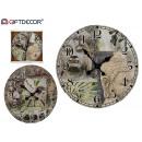 wood clock 58x58 zen Buddha 2 times assorted