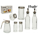 set of 7 glass jars condiments kitchen
