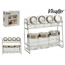 set of 7 glass jars supports metal shelves