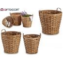conjunto de 3 cestos bambu trenzado