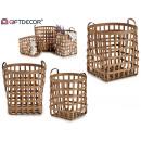 conjunto de 3 cestos bambu base cuadrada