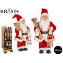 Weihnachtsmann mit Schlitten und Skiern 40cm Schei