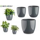wholesale Garden & DIY store: set of 3 domed ceramic pots anthrac