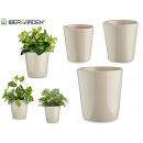 set de 3 pots en céramique coniques gris