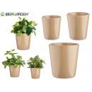 set de 3 pots en céramique coniques beige